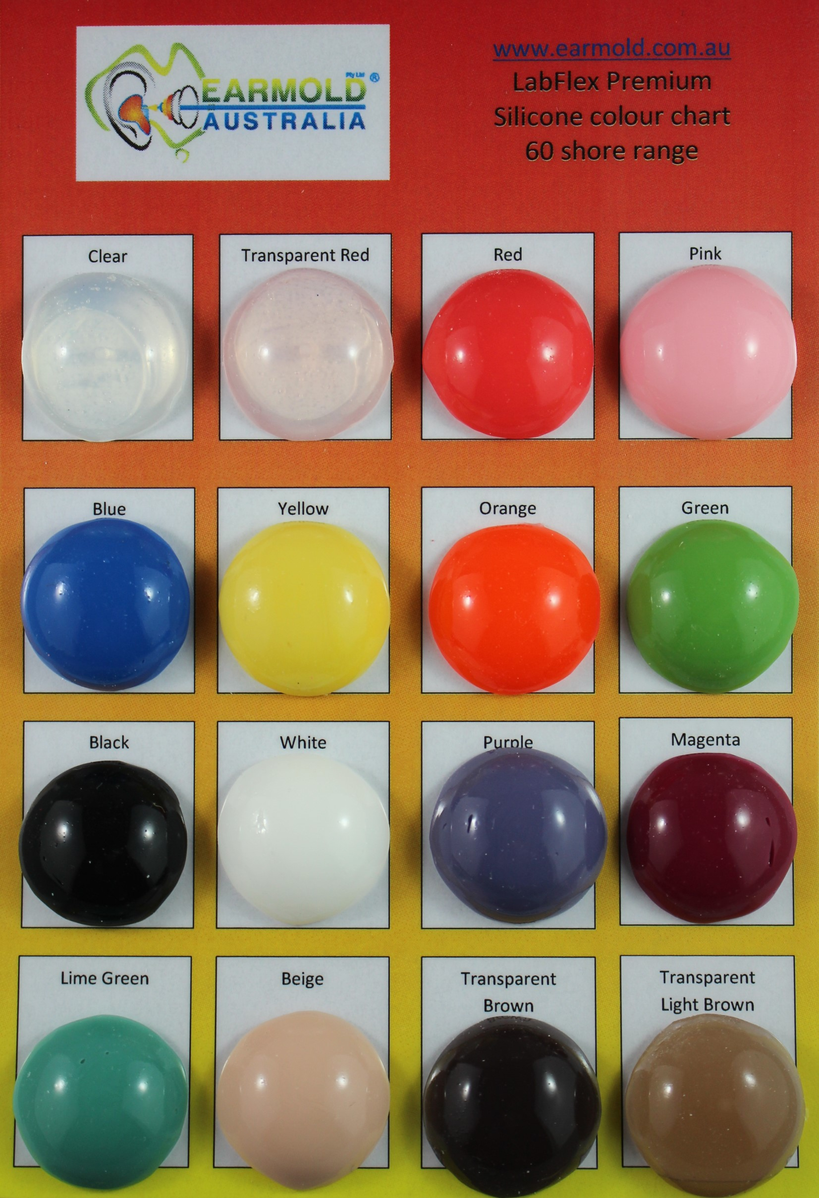 LabFlex 60 Shore colour chart